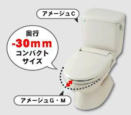 狭いトイレにも設置しやすい 「コンパクト設計」